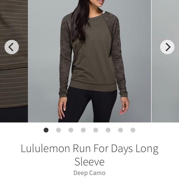 Lululemon Run for Days Long Sleeve Deep Camo